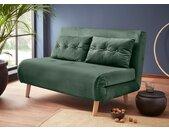 my home Daybett, mit ausziehbaren Metallstützbeinen, Schlafsessel in zwei Größen erhältlich, modernes Gästebett, grün, Breite: 125 cm, dunkelgrün
