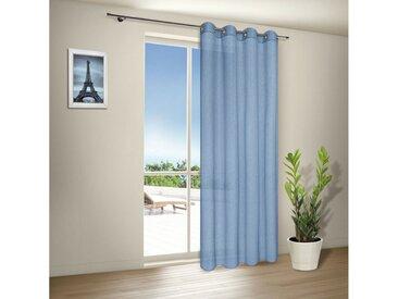 Gerster Vorhang »Moderne Vorhänge mit Ösen TORRI, Ösenschal halbtransparent 140/235 cm«, Ösen (1 Stück), blau, Blau