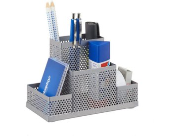 relaxdays Organizer »Schreibtischorganizer Metall gelocht«, silberfarben, Silber