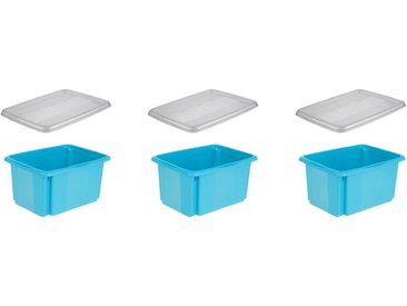 keeeper Aufbewahrungsbox »emil« (Set, 3 Stück), mit Dreh-/ Stapelfunktion, blau, blau