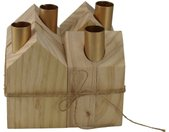 AM Design Adventsleuchter, Kerzenhalter, aus Holz, Höhe ca. 13,5 cm, braun