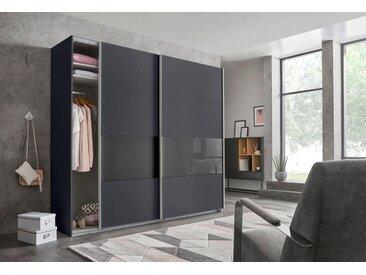 Wimex Schwebetürenschrank »Bramfeld« mit Glaselementen und zusätzlichen Einlegeböden, grau, graphit/Absetzung Schwarzglas