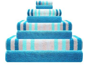 Lashuma Handtuch Set »Pure« (Set, 8-tlg), 8x Frotteetücher Streifen und Uni, 2x 15x21 - 2x 30x50 - 2x 50x100 - 2x 70x140, blau, türkis