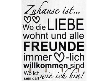 Artland Schlüsselbrett »Jule: Wo die Liebe wohnt«, grau, 25x20 cm, Grau