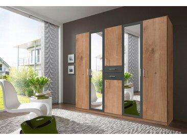 Wimex Kleiderschrank »Diver«, natur, Türen: 6, plankeneichefarben/graphit