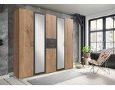 Wimex Kleiderschrank »Diver«, beige, Türen: 6, plankeneichefarben/graphit