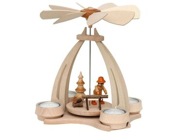 SIGRO Holz Teelicht-Tischpyramide »Waldleute mit Säge«, bunt, Bunt
