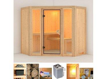 Karibu KARIBU Sauna »Flora 1«, 196x196x198 cm, 9 kW Ofen mit int. Steuerung, natur, 9 kW mit integrierter Steuerung, natur