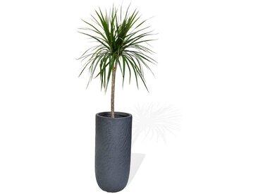 Köhko Blumentopf »KÖHKO® Blumenkübel Pflanzkübel aus Fieberglas Pflanzübertopf dunkelgrau Rund Übertopf«