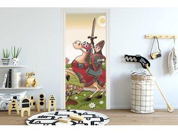 Bilderdepot24 Deco-Panel, Türaufkleber - Kinderbild Ritter vor einer Burg