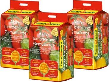Floragard Pflanzerde »Aktiv-Tomaten- und Gemüseerde«, mit Langzeitdünger, (3-St), je 20 l