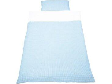 Pinolino® Babybettwäsche »Vichy-Karo«, mit Zackenlitze abgesetzt, blau, blau