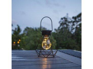 STAR TRADING LED Laterne »LED Solar Laterne Tischleuchte Eddy 5 warmweiße LED H: 15,5cm Lichtsensor schwarz«