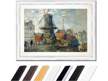 Bilderdepot24 Wandbild, Claude Monet - Windmühle am Onbekende Kanal, Amsterdam, bunt, Silber