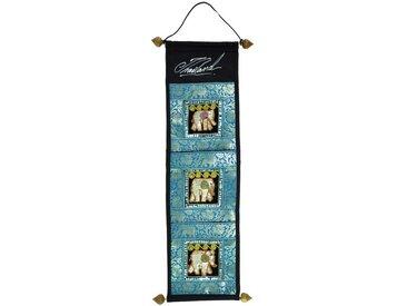 Guru-Shop Wandteppich »Wandtasche, Wand Aufbewahrung, Utensilientasche..«, Höhe 80 mm, türkis-mehrfarbig