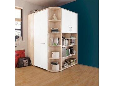 Eckkleiderschrank »Corner« begehbar, natur, struktureichefarben hell/weiß