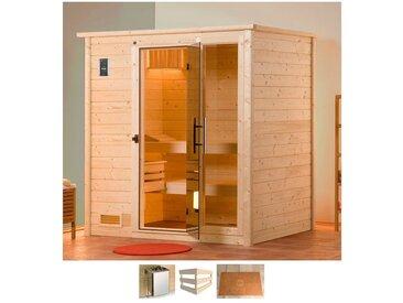 weka WEKA Sauna »Kiruna«, 144x144x199 cm, 3,6 kW Bio-Ofen mit ext. Steuerung, natur, 3,6 kW Bio-Kombiofen mit externer Steuerung, natur