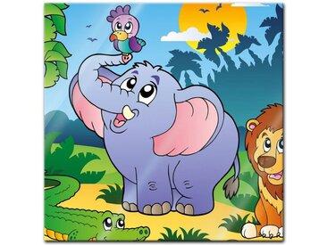Bilderdepot24 Glasbild, Glasbild - Kinderbild afrikanische Tiere