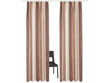 my home Vorhang »Macias«, Kräuselband (2 Stück), Gardine, Fertiggardine, halbtransparent, braun, braun