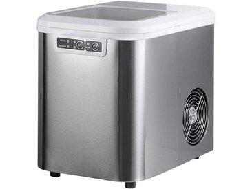 Woltu Eiswürfelmaschine, Eiswürfelmaschine mit 2 Eiswürfelgrößen 2,2 Liter 120W ABS, silberfarben, silber
