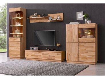 Premium collection by Home affaire Wohnwand, (Set, 4-St), braun, Kernbuche teilmassiv