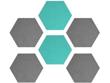 Navaris Pinnwand, Filz Memoboards Set sechseckig - 6x Filzboard 15x17x1,5cm mit Stecknadeln und Klebeband - für Küche und Büro, grau, grau-türkis