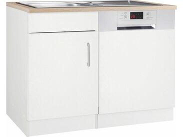 HELD MÖBEL Spülenschrank »Utah« Breite 110 cm, mit Tür/Sockel für Geschirrspüler, weiß, Weiß matt