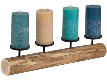 BigDean Tischkerzenhalter »Rustikaler Kerzenleuchter 51 cm lang mit 4 Tellern«