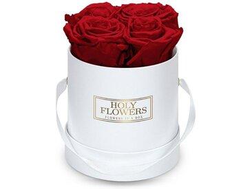 Holy Flowers Kunstblume »Flowerbox in weiß mit 4-5 Infinity Rosen I 3 Jahre haltbar I Echte, duftende konservierte Blumen I by Raul Richter« Rose, Höhe 11 cm