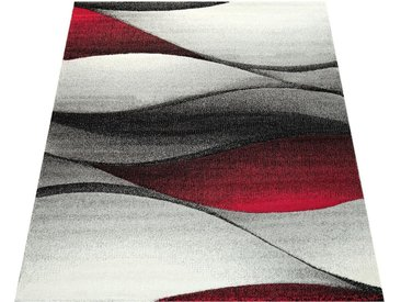 Paco Home Teppich »Diamond 666«, rechteckig, Höhe 18 mm, 3D-Design, Kurzflor mit Wellen Muster, rot, rot