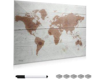 Navaris Magnettafel, Memoboard aus Glas - Magnetwand 60x40 cm zum Beschriften - Magnetische Tafel inkl. Magnete Stift Halterung - Weltkarte Design