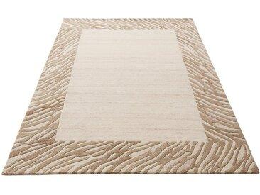 Theko Exklusiv Wollteppich »Kübra«, rechteckig, Höhe 14 mm, reine Wolle, mit Bordüre, Wohnzimmer, beige, natur