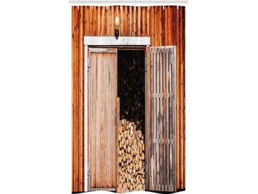 Abakuhaus Duschvorhang »Badezimmer Deko Set aus Stoff mit Haken« Breite 120 cm, Höhe 180 cm, Rustikal Scheune mit Brennholz Rural