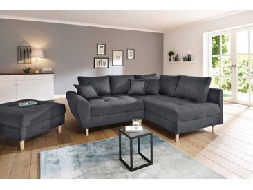 Home affaire Ecksofa »Rice«, incl. Hocker, mit Federkern, grau, anthrazit