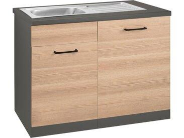 wiho Küchen Spülenschrank »Esbo« 110 cm breit, inkl. Tür/Sockel für Geschirrspüler, natur, Zen Esche/Anthrazit