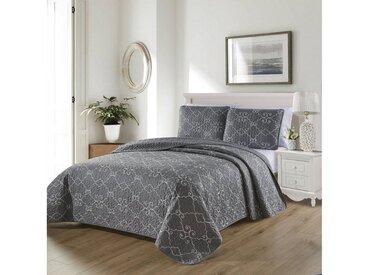 ZELLERFELD Tagesdecke »3-Teilige Tagedecke mit schönem Design Bettdecke Doppelbett Kopfkissen Polyester Decke 220 x 240 cn in Weiß/Pink/Grau«, grau