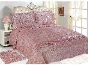 ZELLERFELD Tagesdecke »3-Teilige Bettdecke Tagedecke mit schönem Design Bettdecke Doppelbett Kopfkissen Polyester Decke 220 x 240 cn in Weiß/Pink/Grau«