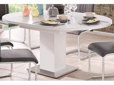 Esstisch, mit Auzugsfunktion in 2 Größen, weiß, Einlegeplatte, weiß-matt