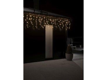 KONSTSMIDE LED Eisregen Lichtervorhang, weiß, Lichtquelle bernsteinfarben, 200 LEDs, Transparent
