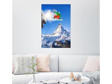 Posterlounge Wandbild, Snowboarder vor Matterhorn, Premium-Poster