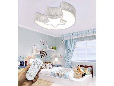 Natsen Deckenleuchte, 24W Kinderlampe LED Deckenlampe voll dimmbar mit Fernbedienung Mond mit Stern 6285 [Energieklasse A++]