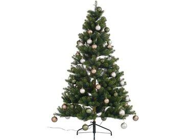 Künstlicher Weihnachtsbaum »Fertig geschmückt«, mit 60 Kugeln und LED Beleuchtung, grün, grün-hellbraun-beige