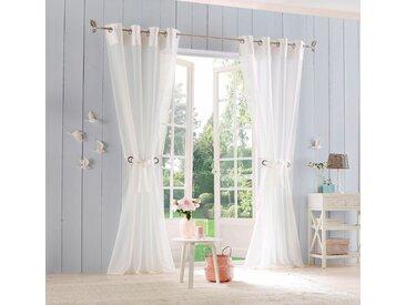 Home affaire Gardine »Willowa«, Ösen (2 Stück), Vorhang, Fertiggardine, inkl. Raffhalter, halbtransparent, natur, creme