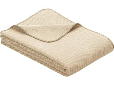 IBENA Wolldecke »Jacquard Decke Auckland«, GOTS zertifiziert, natur, Baumwolle-Schurwolle, natur