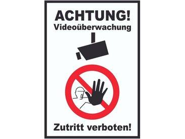 HB-Druck Metallschild »Achtung Videoüberwachung Zutritt verboten Schild«, 2mm Aluminiumverbundpaltte mit Digitaldruck und Schutzlaminat, selbstklebend