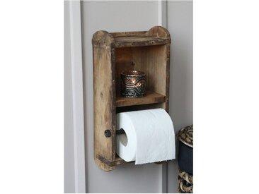 Chic Antique Toilettenpapierhalter » Wand- Toiltettenpapier- Klorollen- Halter Ziegelform Holz 41482-00«