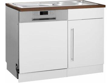 HELD MÖBEL Spülenschrank »Samos« 110 cm breit, inkl. Tür/Sockel für Geschirrspüler, weiß, melaminbeschichtet, weiß