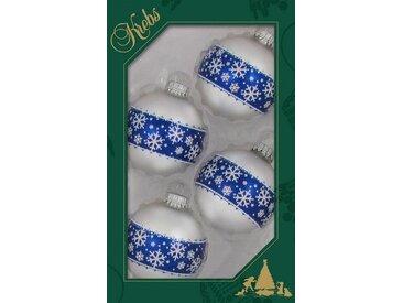 Krebs Glas Lauscha Weihnachtsbaumkugel »Schneekristall« (4 Stück), mit Schneeflocken-Bordüre