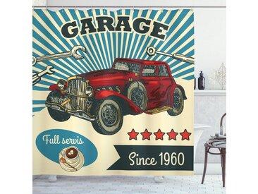 Abakuhaus Duschvorhang »Moderner Digitaldruck mit 12 Haken auf Stoff Wasser Resistent« Breite 175 cm, Höhe 180 cm, Automechaniker Retro Car Garage Art