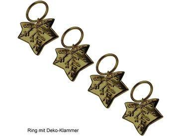 Liedeco Gardinenring »Blatt«, Gardinenstangen, (Packung, 4-St., mit Dekoklammer), für Gardinenstangen Ø 16 mm, goldfarben, messingfarben
